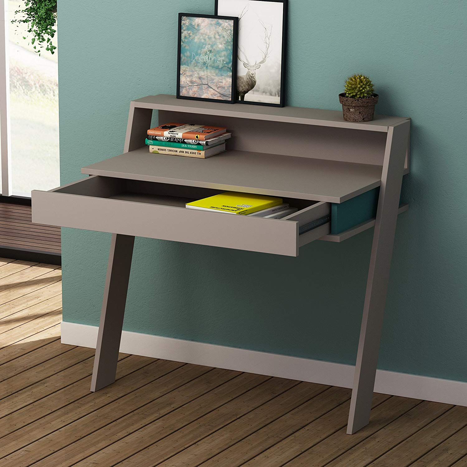Writing Computer Desk Modern & Simple Gray Green Functional Modern Decorative Stable Study Desk Industrial Style Study & Laptop Table for Home, Office, Living Room, Study Room