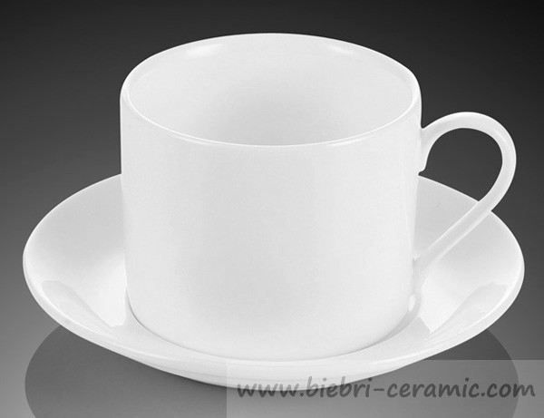 280cc Plain White Porcelain Tea Cup And Saucer Wholesale