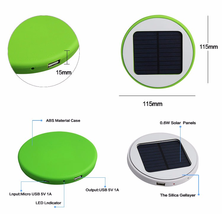 New Premium 5200mah Window Solar Outdoor Power Bank Portable Charger for Smartphone
