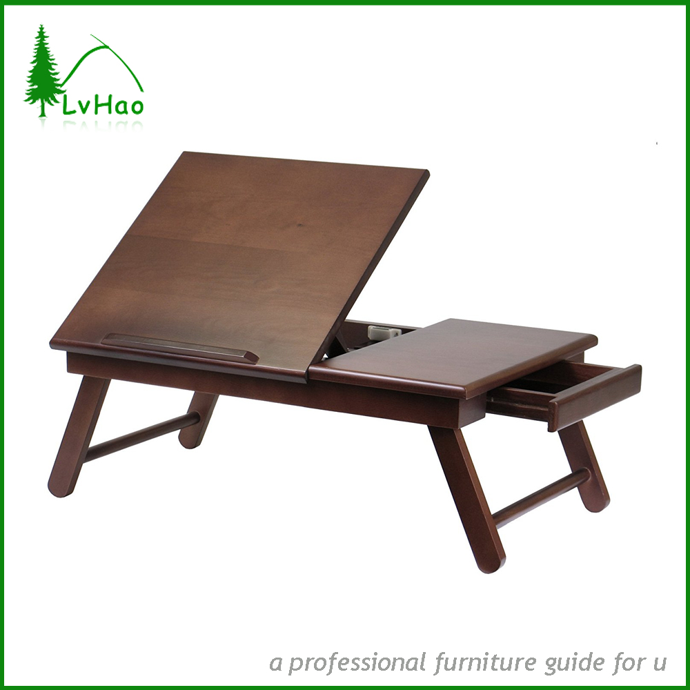 Antique multifunctional adjustable wooden lap desk with foldable legs and drawer