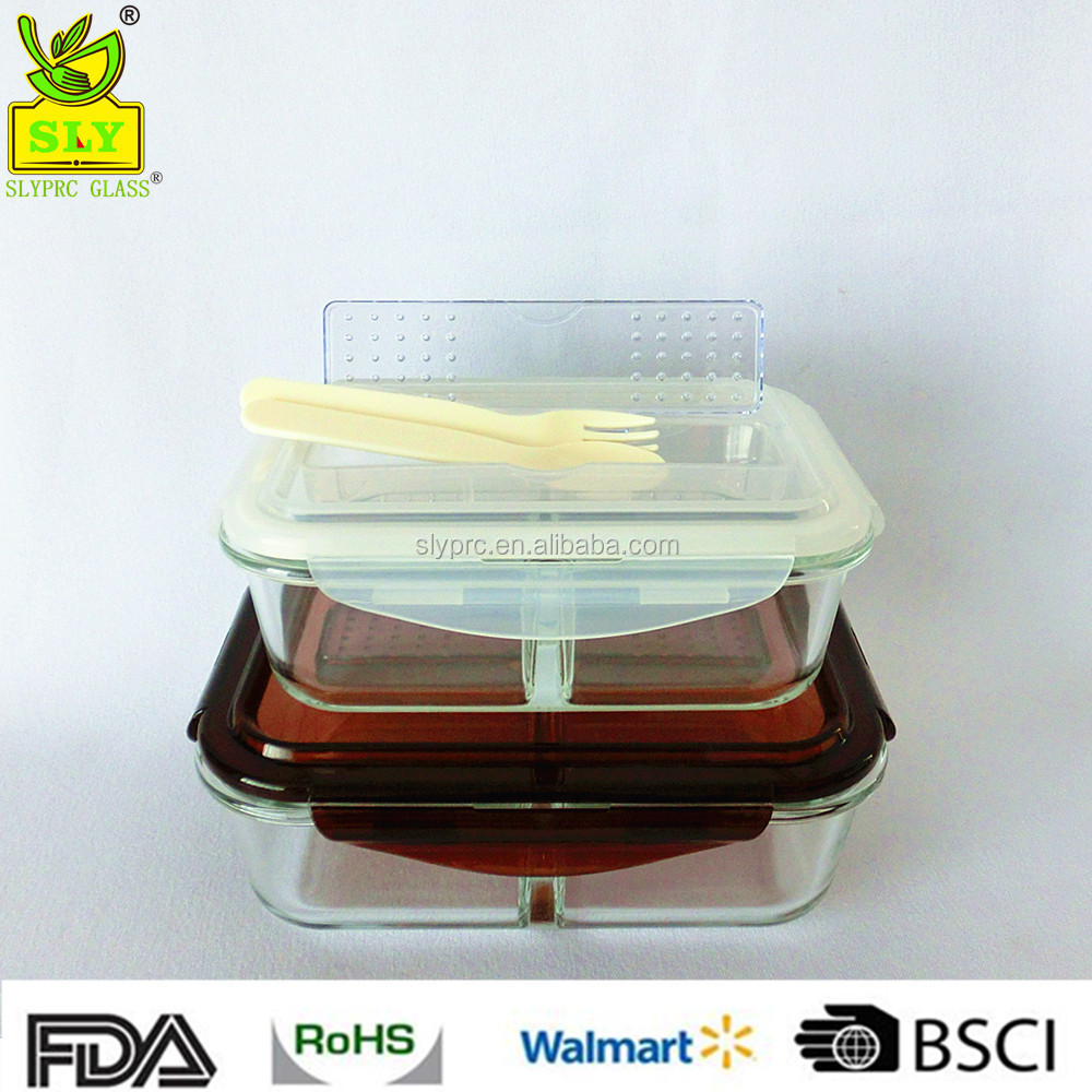 2017 New Glass Food Storage Container With Compartment