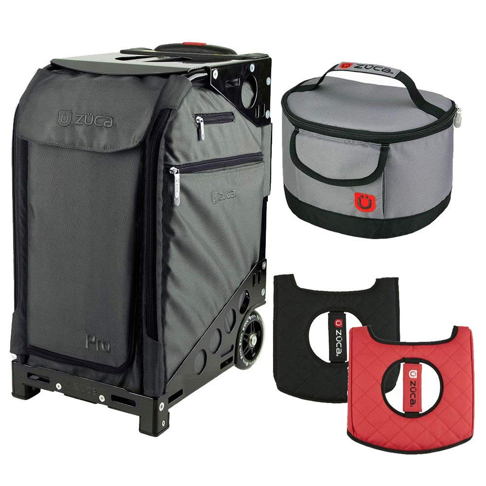 ZUCA Graphite Gray Pro Travel Case w. Black Frame,Flashing Wheels, Seat Cushion & Lunchbox