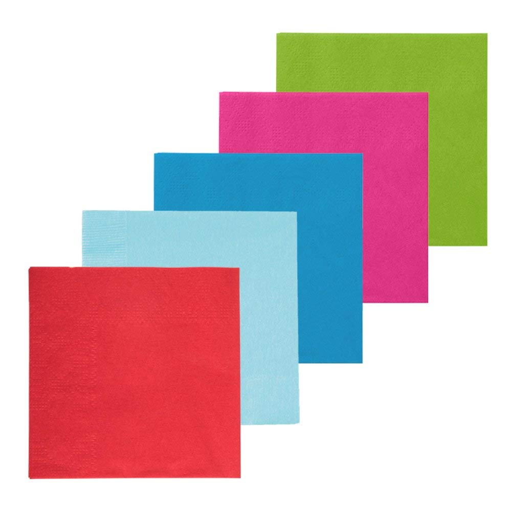 "Fiesta Cocktail Napkins – 100pcs Festive Design Paper Cocktail Napkins | 2 Ply of Assorted Neon Color 6.5"" Paper Towels 