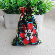 Small custom printed drawstring jewelry pouches packaging bags