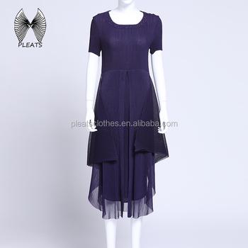 c0f094582cd New Product Elegant Short Sleeves Pleats Dress Double Layer Asymmetrical  Hem Women Pleated Dress Long Evening