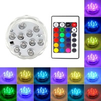 Battery Operated 10 LED RGB Underwater Light Submersible Waterproof Swimming Pool Light for Vase Wedding Party