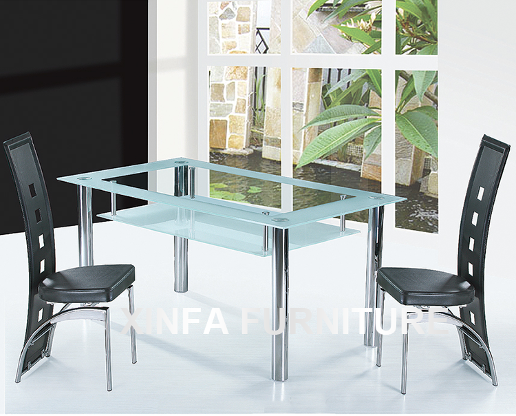 Cheap Two Layers Tempered Glass Top Chrome Legs Dining Table And