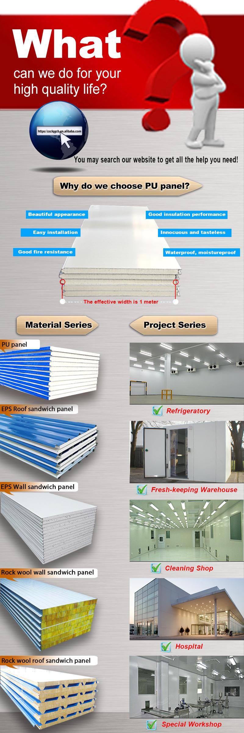 Politer Insulated Metal Pu Roof Panel Poliuretan