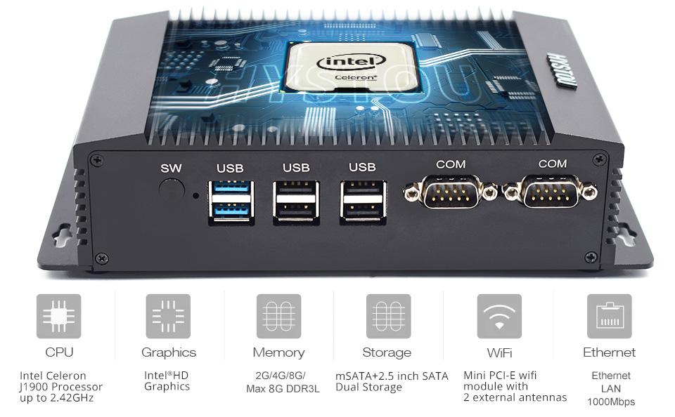 Desktop Fanless mini pc barebone system Celeron J1900 with 2 RS232 RS485 COM Port SIM card port 2 LAN port computer