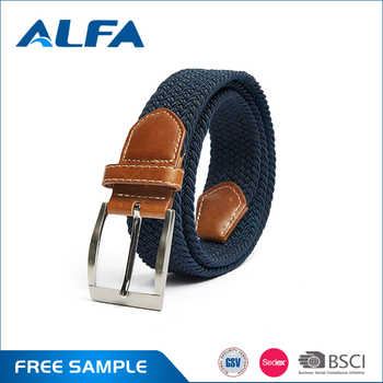Alfa Wholesale Product Colorful Unisex Fabric Elastic Waist Belt With Pin Belt Buckles