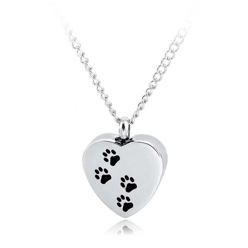 "Cremation Ashes Necklace ""Precious Paws"" Pendant Memorial Pet Jewelry By Life Lockets - A Unique Urn Keepsake"