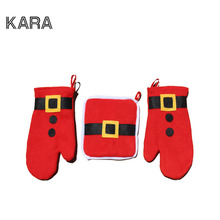 3pcs/set Christmas Decoration 2016 Oven Gloves Navidad Decoracion Christmas Ornament Table Decorations For Home Santa Claus