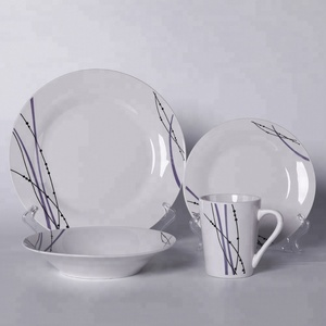 Eco Friendly Guangzhou Hotel & Restaurant Used Crockery White Ceramic Dinner Tableware Set