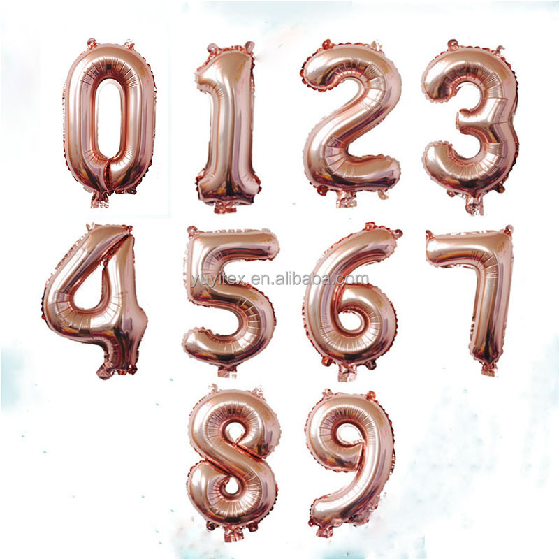 16inch Rose Gold Number Foil Balloons Digit Air Ballons happy Birthday Balloons Wedding decorations Party Supplies