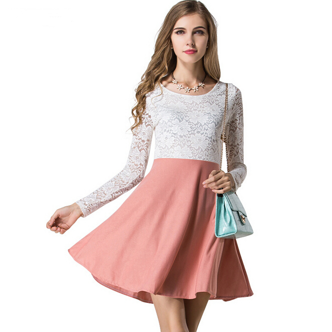 c97d4750ed Get Quotations · 2015 Autumn Style Casual Elegant Dresses Women Long Sleeve  O-Neck White Lace Patchwork Crochet
