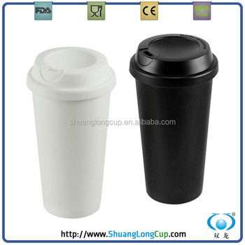Whole White Tea Cups Bulk Double Wall Plastic Sealed Coffee Cup For Mug With Silicone Grip