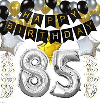 85TH Birthday Party Decorations Kit Black Happy Banner Silver 85 Mylar Foil Balloon Star