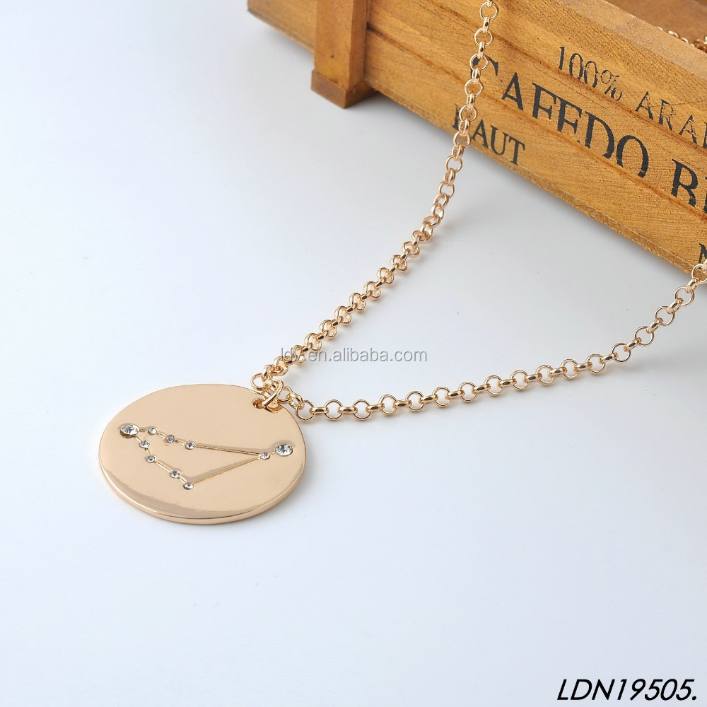 Simple zodiac gold long chain pendant necklace designs