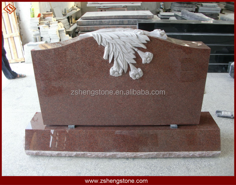 granite monument, tree carving headstone, tombstone with rose carving