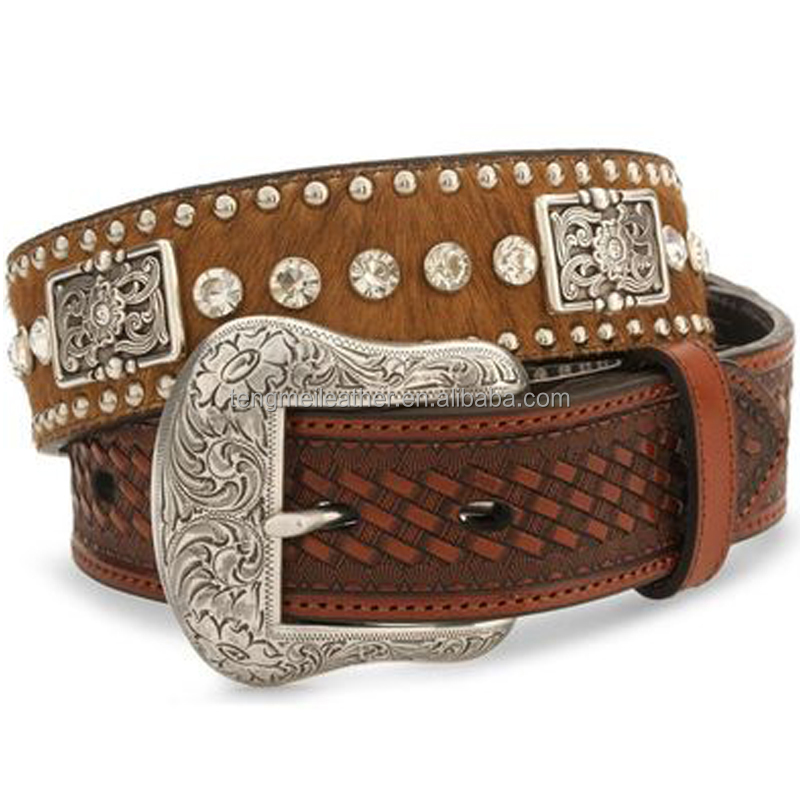 Western style waist belts crystal studded hair on hide leather belt