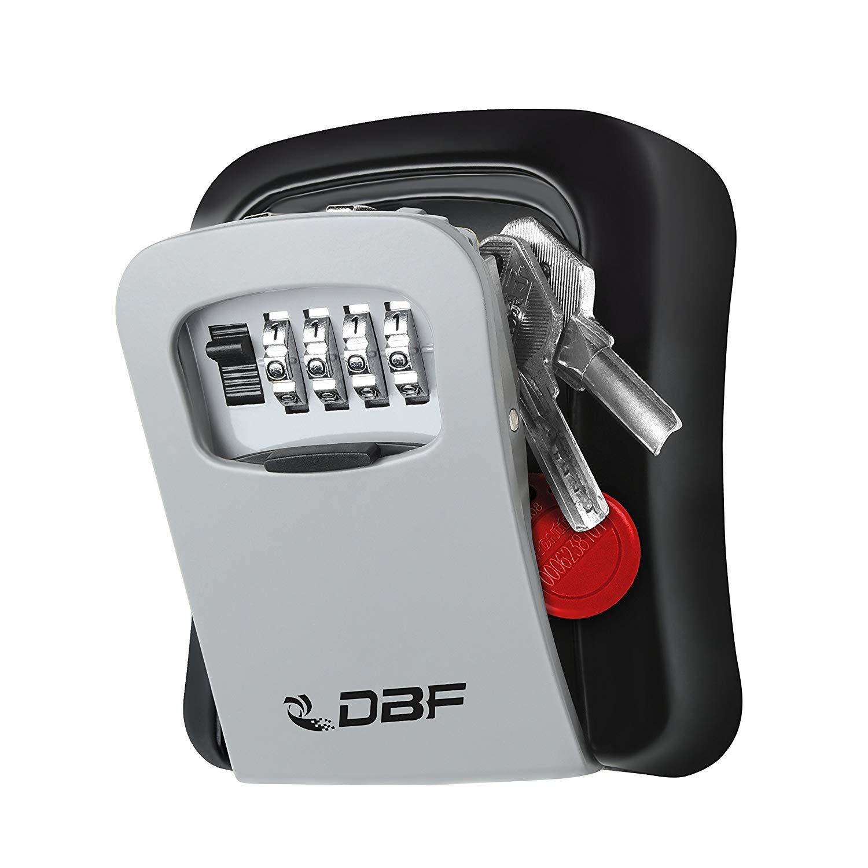 DBF Key Storage Lock Box, Key Hider, Combination Box, Wall Mounted Stainless Steel Key Safe Lock Box, Re-settable Code Box Lock Outdoor Indoor