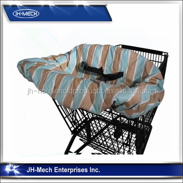 Blele and grey stripe design baby shopping cart cover with safety harness