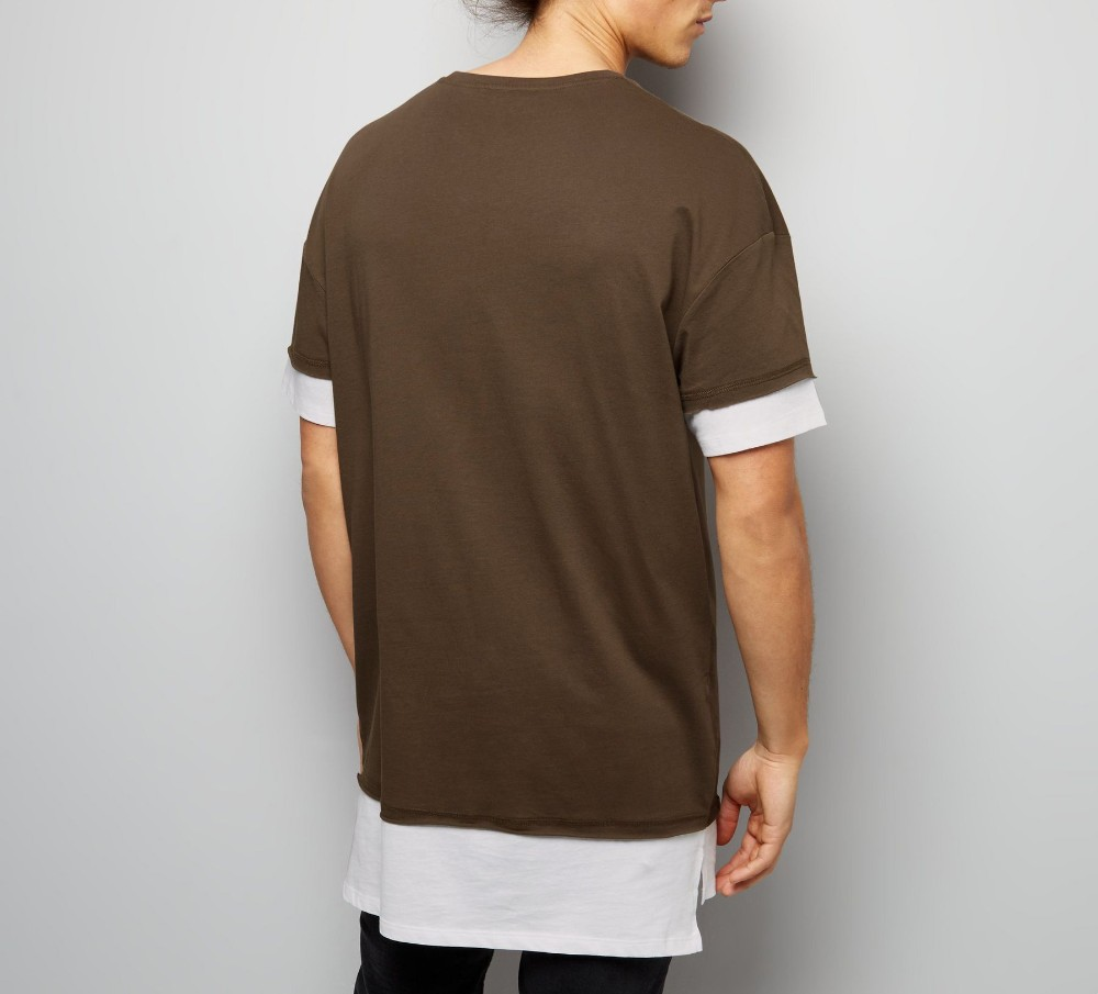 Mens clothing brown layered create your own brand longline for How to start your own t shirt brand