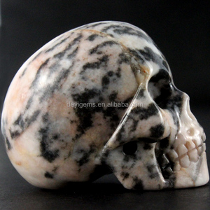 Unique Pink Zebra Jasper skull head all by handmade for collection or wedding