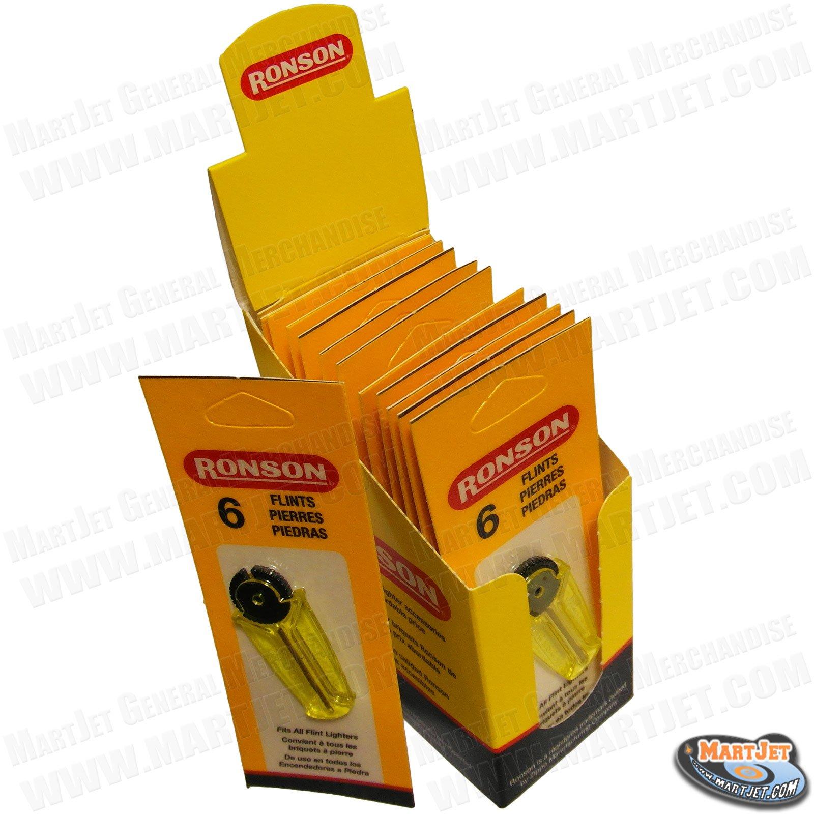 Ronson Flints Display Box (Spark Stones) for Lighters 12/6Pk (72 flints)