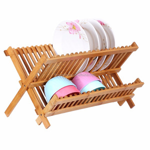 Wholesale Bamboo Dish Drying Rack Foldable Utensil Drainer