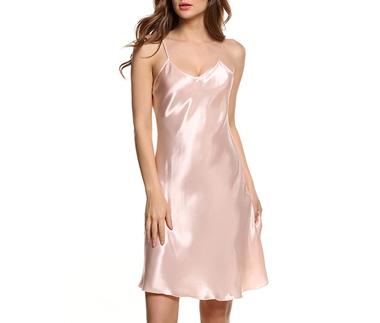 Memoriesed Satin Nightgown Women Silk Sleepwear Sexy Night Dress V Neck  Strap Solid 2c581ffc9