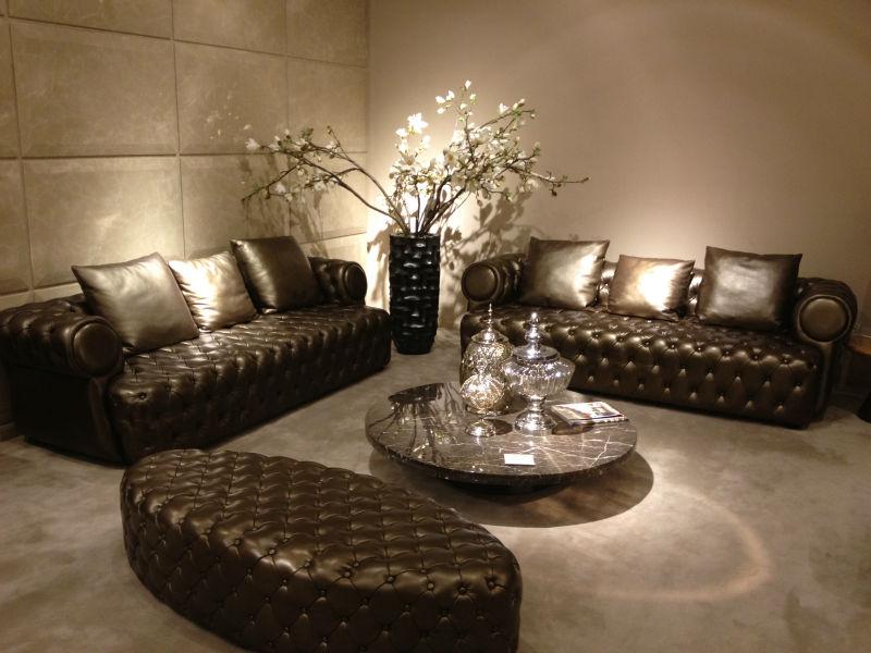 Soggiorno di lusso divano in pelle chesterfield mobili - Chesterfield wohnzimmer ...