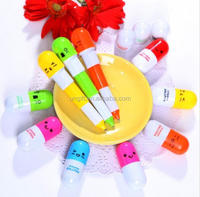 New Office school supplies Retractable Ball point pen cartoon Telescopic face Capsule pills Pen