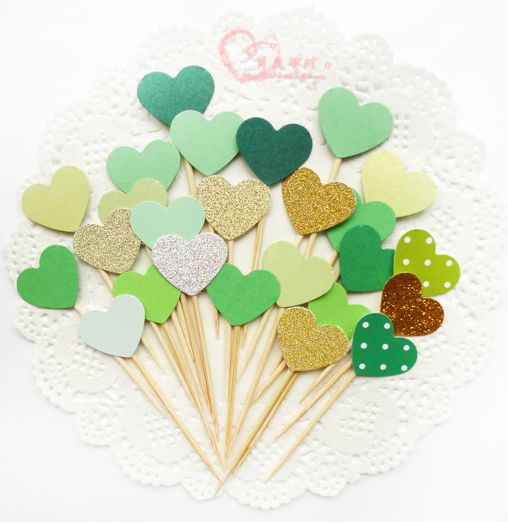 Buy 40PCS Green Double-Sided Heart Cupcake Toppers,Cupcake Toppers ...