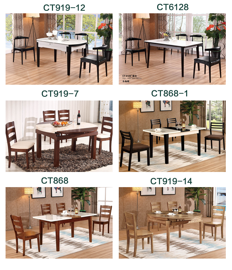 Easy to install restaurant furniture dining round table and chair set