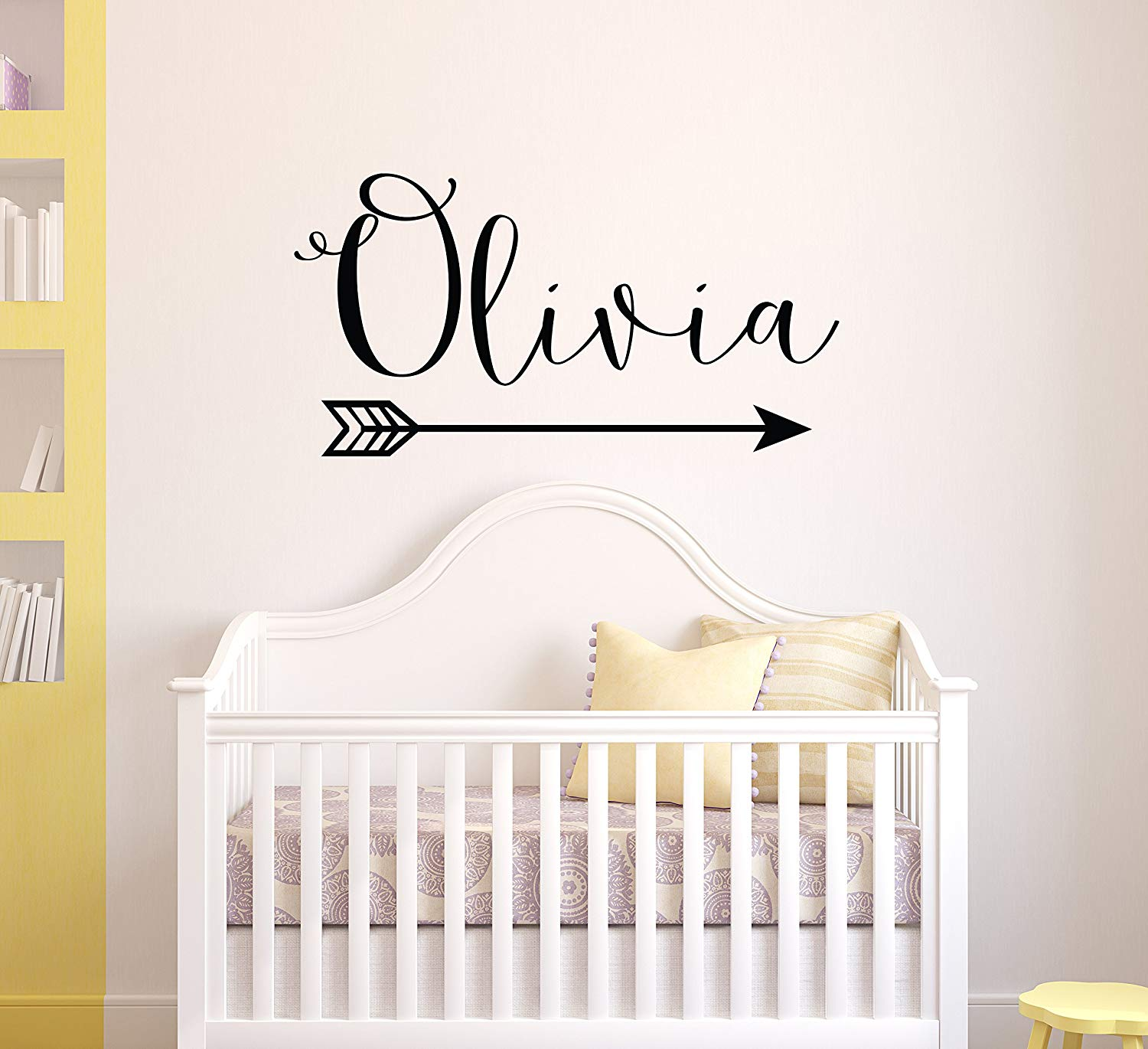 Arrow Name Wall Decal - Rustic Name Decal Nursery Decor - Personalized Girl Wall Decal Boho Nursery Decor - Custom Name with Arrow Girls Decor