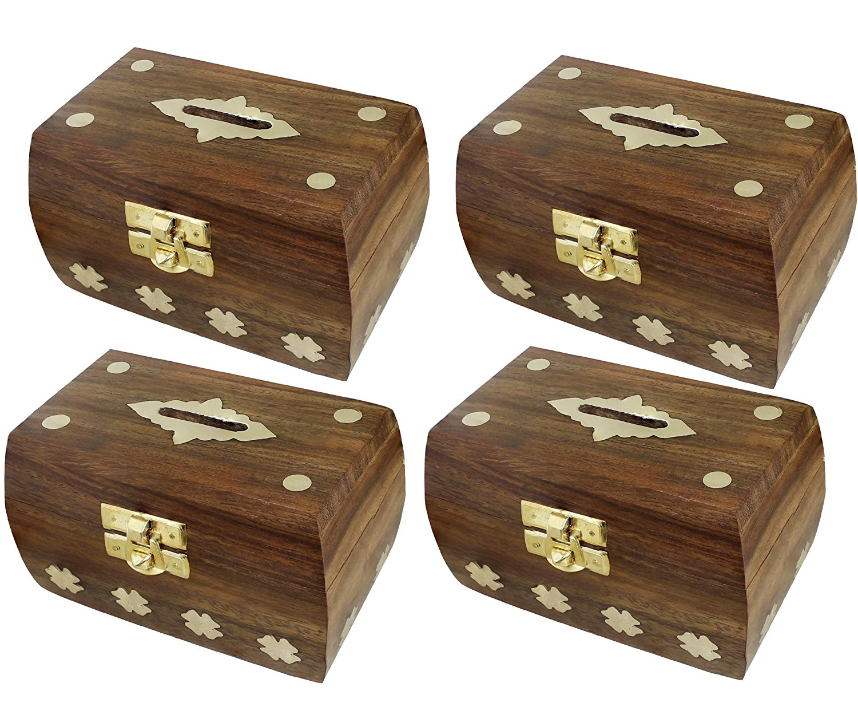 "Set of 4 - Treasure Chest Money Box - Safe Money Box Savings Banks Wooden Carving Handmade - Large Piggy Bank for Kids 4.5"" x 3"" x 3"""
