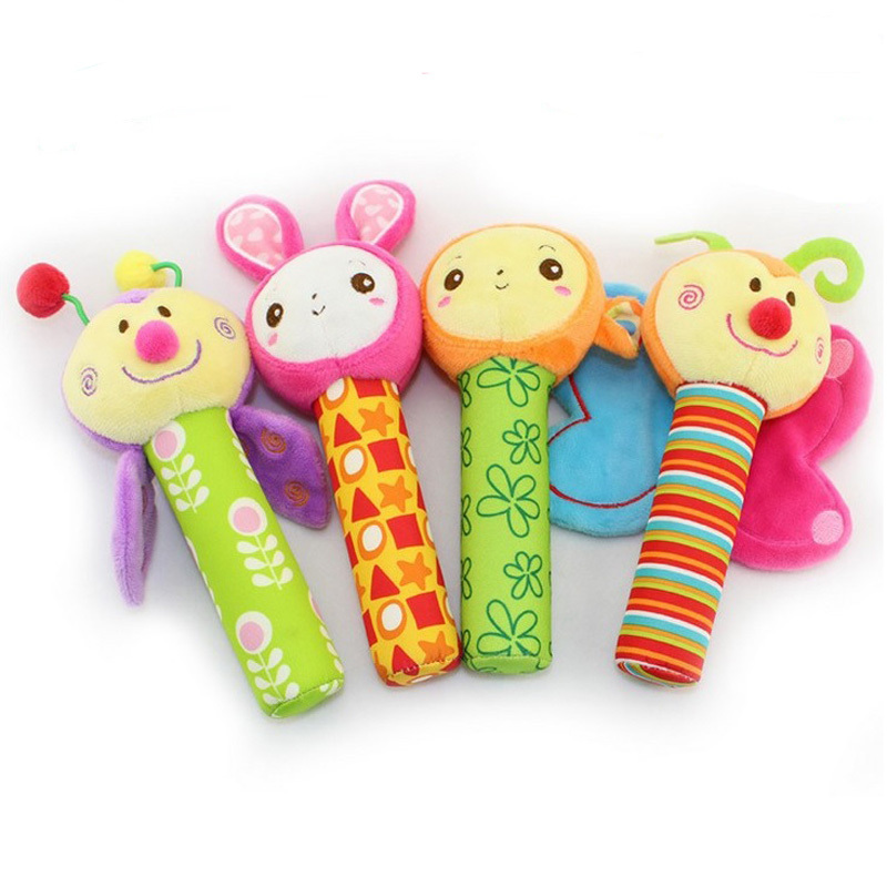 0M+ Soft Baby Mobile Toy Hand Squeaker Cartoon Animal Rattle Hand Development Musical Toy Gift