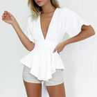 2019 summer Latest Fashion Sexy Plain White Deep V Neck Short Sleeve Solid Chiffon Blouses For Women tops and shirts