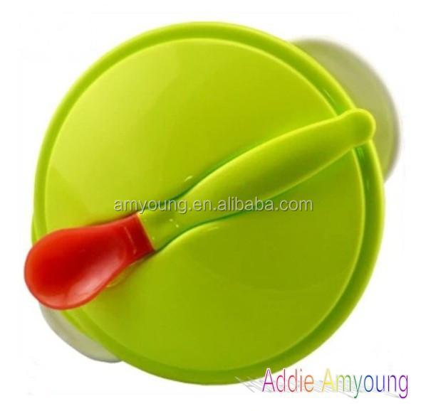 2014 free sle plastic kid bowl baby feeding plate and spoon