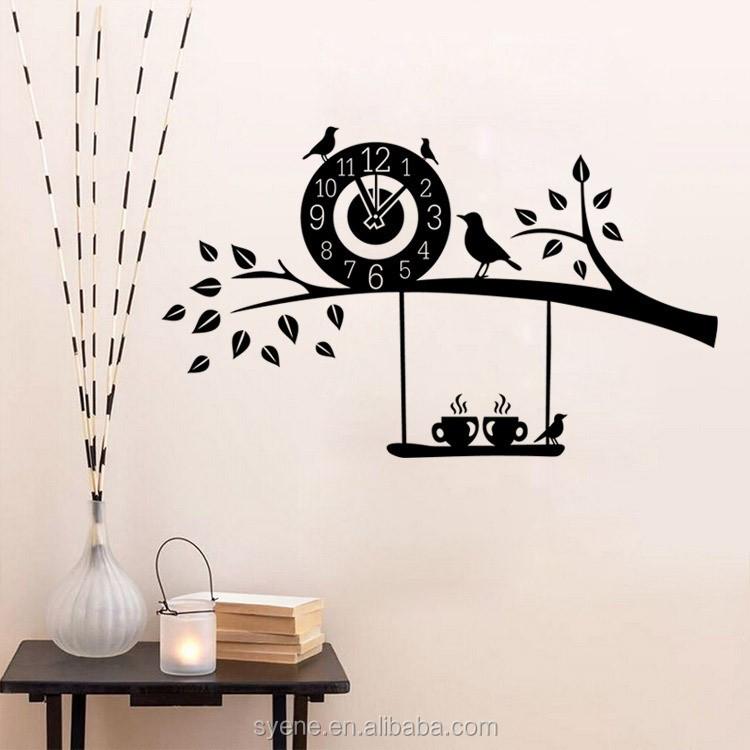 3d art custom vinyl wall sticker clock flying birds tree branch wall