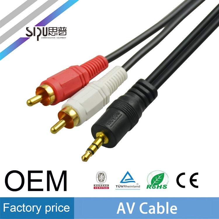 SIPU 3.5mm to 2rca av cable for psp 1000 wholesale audio cable high speed rca cable av conector