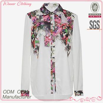 cd0344ae952 New Model Ladies Fashion Beautiful Shirts 2016 Summer Sweet Long Sleeve  Stand Collar White Floral Printed Shirts - Buy Girls Summer Shirts,New  Model ...