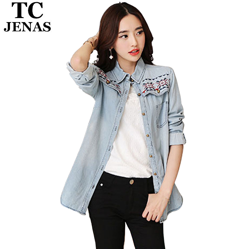 TC Woman Embroidery Denim Shirts Long Sleeve Slim Blue Casual Vintage Blouses Tops Clothing Blusas De Manga Comprida PT00094