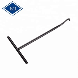 Exhaust pipe spring puller with T-handle and angled hook for motorcycle