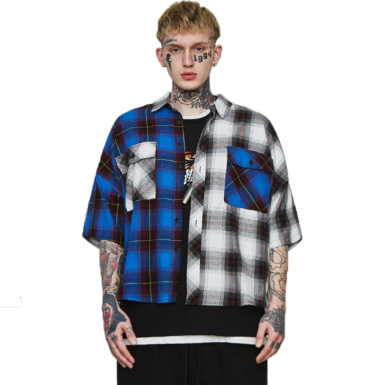 OEM custom high fashion mens High Street Colour Block Korte Mouw Hip hop Swag Plaid Casual Shirts