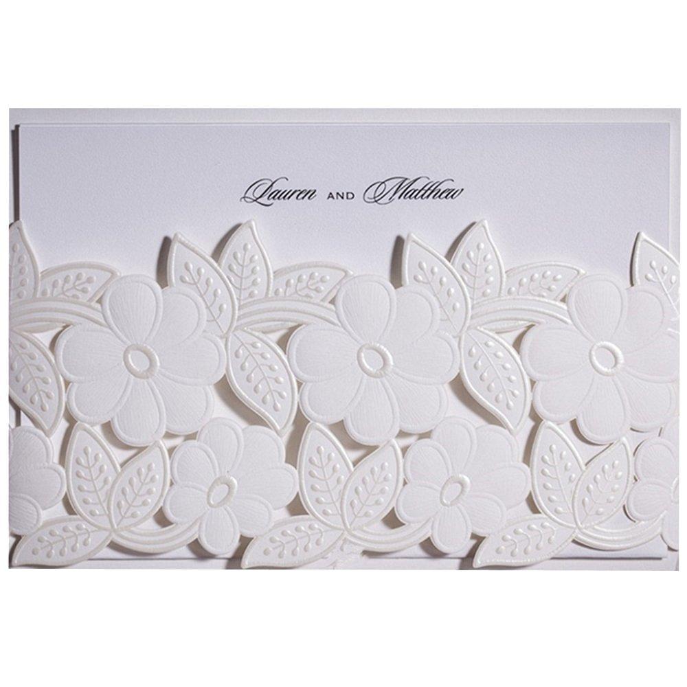 Everyshine White Laser Cut Wedding Invitations (12)