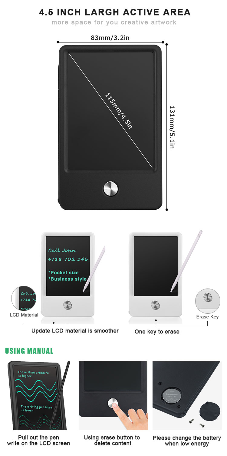 Hot Sale 4.5 Inch Magic Paperless Notepad Drawing Graphic Memo Pad Ewriter Lcd Writing Tablet