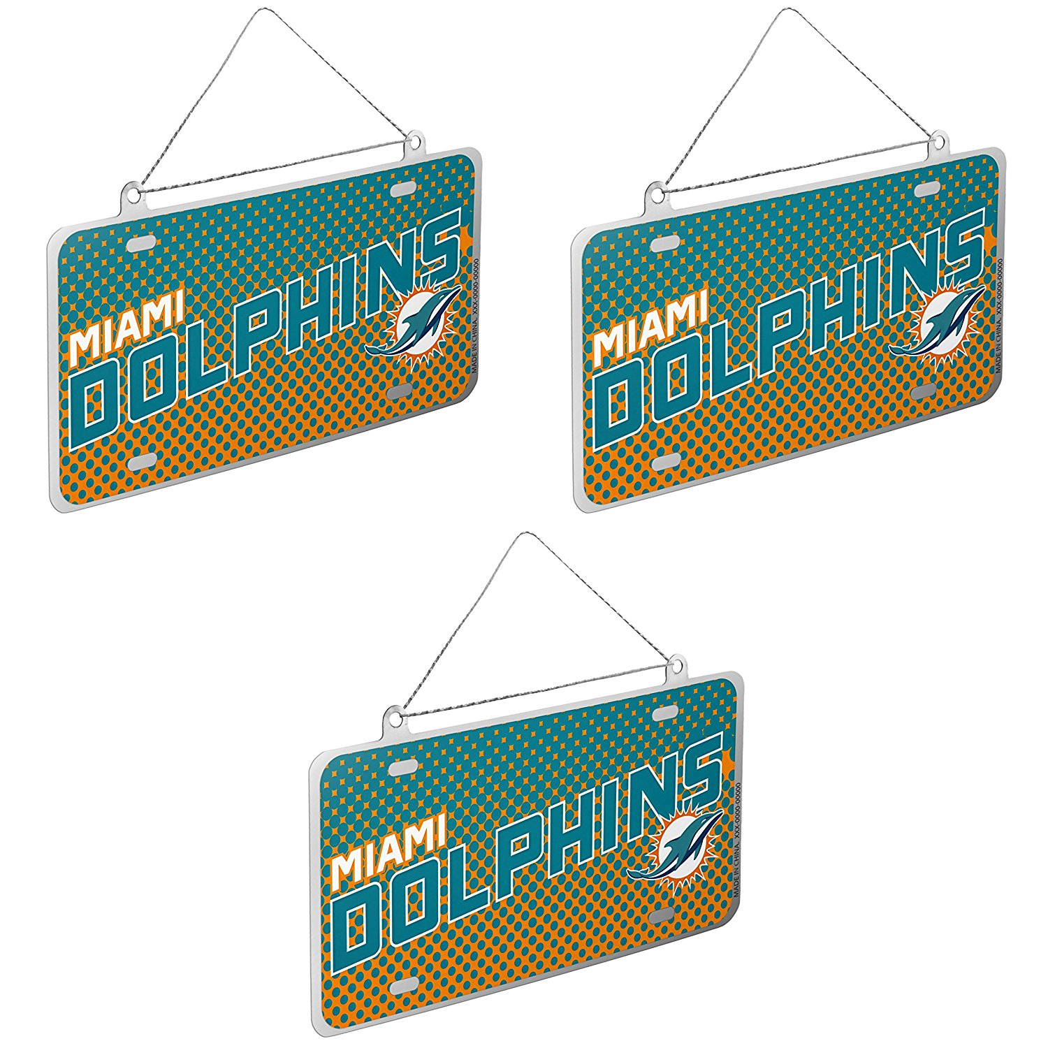 NFL Miami Dolphins Metal License Plate Christmas Ornament Bundle 3 Pack By Forever Collectibles