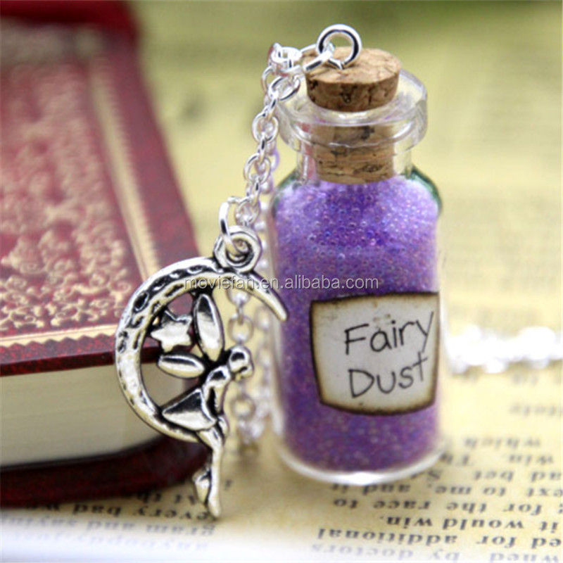 Fairy Dust and a Fairy Charm glass Bottle Necklace with a moon angel Charm Once Upon a Time Inspired necklace